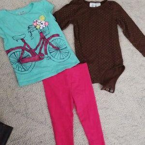3t Girls pink pants set
